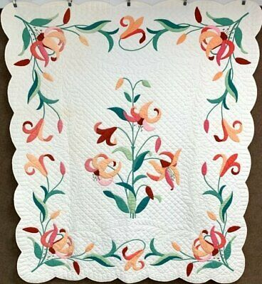 Beautiful! Vintage Tiger Lily APPLIQUE Quilt Feather Quilting!