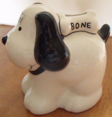 Vintage Department 56 Pets Puppy Bone Hand Painted Coin Bank