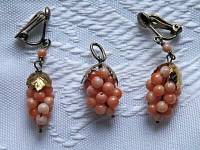 Antique Victorian Italian Coral Grapevine Silver Gilt Earrings And Pendant Set