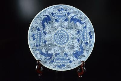 Z533: Chinese Blue&White Flower Bat Muffle painting ORNAMENTAL PLATE/Dish, auto