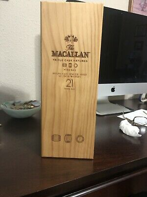 MaCallan 21 Year Old Single Malt Scotch Empty Bottle And Wood Box