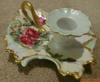 Vintage Hand Painted and Signed Candle Holder w/Gold Finger Hold