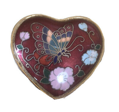 Vintage Floral Heart  Enamel Metal Trinket Ring Jewelry Box