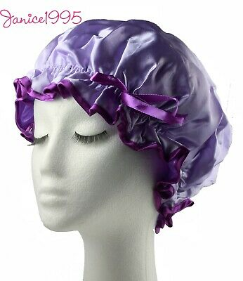 MIRATE Quality Lined Waterproof Satin Shower Cap LILAC / MAUVE