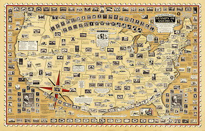 Historical Pictorial Map Print USA America Stamps Philatelist Art Gift Ideas