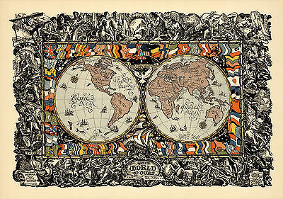 1920 World Peace Map New National Boundaries Wall Art Poster History Vintage