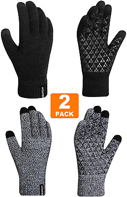 Ideatech Winter Gloves For Women,(2 Pack) Knit Touch Screen Gloves,Anti Slip Sil