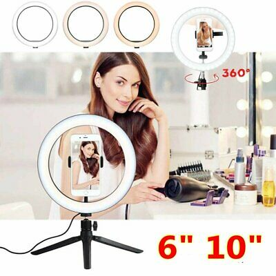 "6"" 10"" LED Ring Light Dimmable for Youtube Tiktok Makeup Video Live Phone Selfie"