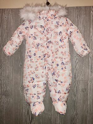 JESSICA SIMPSON Cream Floral Insulated Hoodie Snowsuit Infant Girls 6 / 9 mos