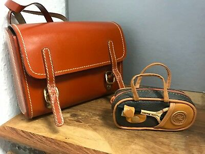 Leather Suitcase/Bag 2 Piece To Approx. 17 Cm. Top Condition