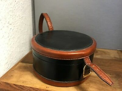Leather Suitcase/Bag Approx. Ø 13,5 Cm. Top Condition