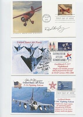 Us Early Test Pilots Signed First Day Cover Lot (4) Greenamyer,Dyson