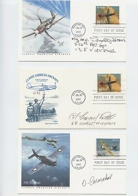 Wwii Fighter Aces Signed/Autographed First Day Cover Lot (4)  Strait,Loving,