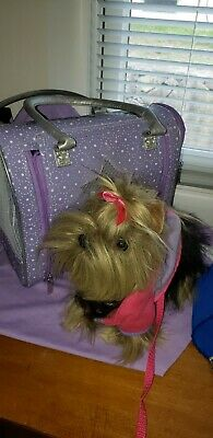 "Battat Pucci pups Yorkshire Terrier Puppy Dog Stuffed Yorkie Plush 10"" carrier"