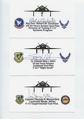 Us Early Test Pilots Signed Custom Card Lot (6) Morgenfeld,Chedister