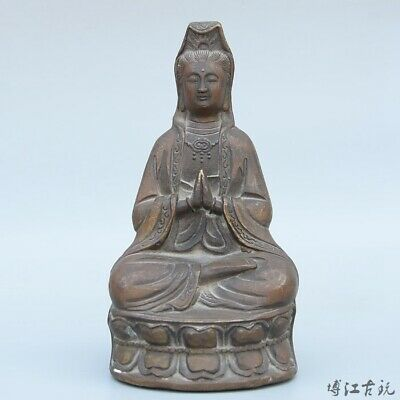 Collectable China Old Bronze Hand-Carved Buddhism Kwan-Yin Exorcism Luck Statue