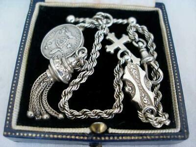Fine Victorian Sterling Silver Albertina Watch Chain With Tassel Fob & Coins.
