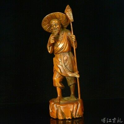 Collectable China Old Boxwood Hand-Carved Peasant Delicate Vivid Decorate Statue