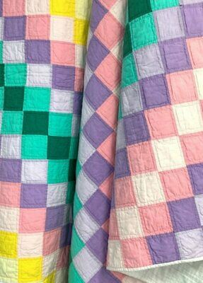 Colorful Pastels! Patchwork QUILT Vintage Pink Purple Yellow Green