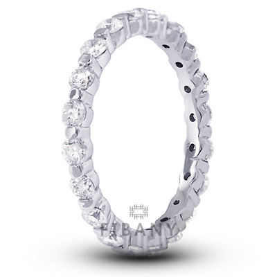 1ct H SI2 Round Natural Certified Diamonds 14k White Gold Classic Eternity Ring