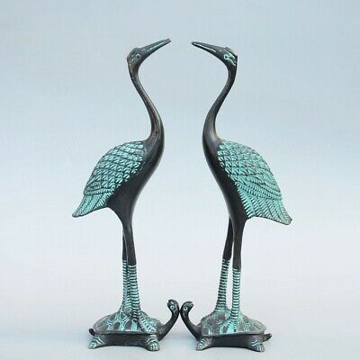 Collect Old Bronze Carve Elegant Crane Trample Tortoise A Pair Delicate Statue