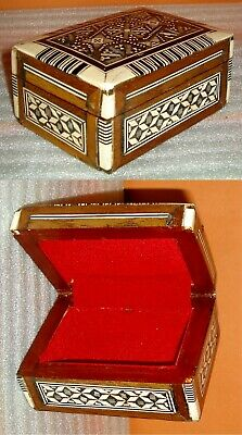 Vintage Small Wooden Moroccan Jewelry Trinket Box with Mother of Pearl Inlay