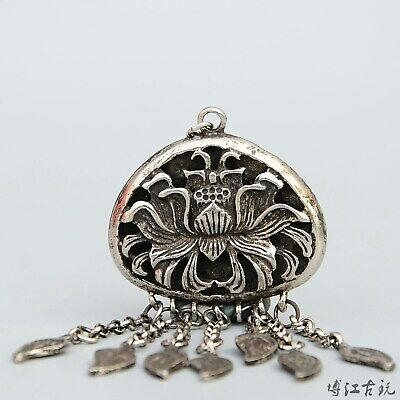 Collectable China Old Miao Silver Hand-Carved Bloomy Lotus Auspicious Pendant