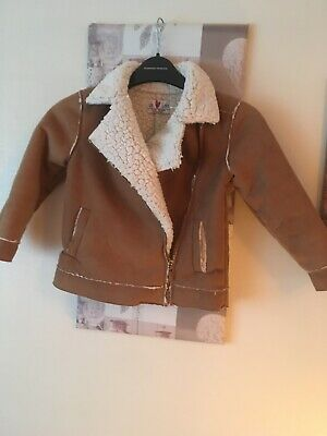 Lily Lola Tan Coloured Suede And Fleece Girls Jacket Age 4-5 Years