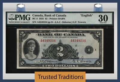 Tt Pk Bc-3 1935 Canada Bank Of Canada English $2 Queen Mary Pmg 30 Very Fine!