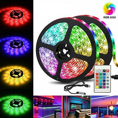 USB Powered RGB 5050 LED Strip Lighting for TV Computer Background Light 2M 6FT