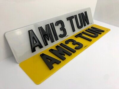 Front & Rear Pair 4D Laser Cut Raised Gloss Gel Top Letters Reg Number Plates