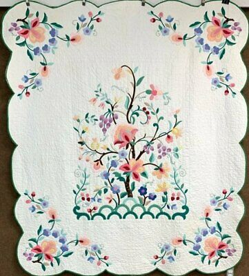 Beautiful! Vintage Tree of Life APPLIQUE Quilt   Nice Quilting!