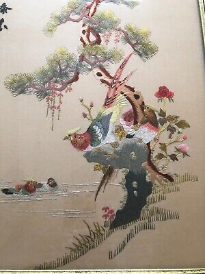 Vintage Chinese Silk Hand Embroidery Panel Signed Birds Flowers Framed