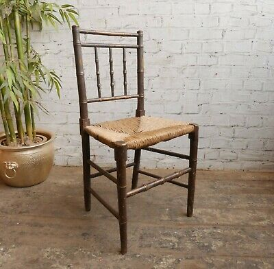Antique Edwardian Victorian Regency Style Faux Bamboo Rush Seat Hall Chair
