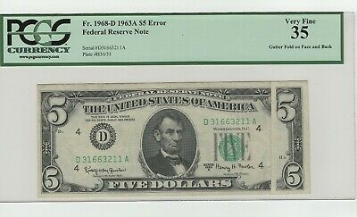 1963A $5 Error With A Large Gutter Fold On Face Through Back Graded By Pcgs