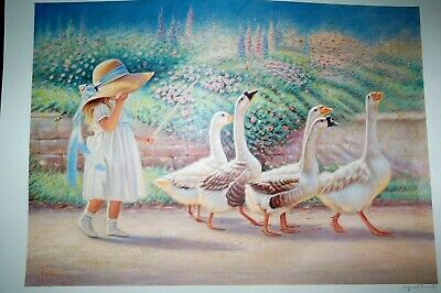 """Goose Herding ~ Miguel Paredes 26"""" X 18"""" LISTED ARTIST SIGNED LITHOGRAPH PRINT"""