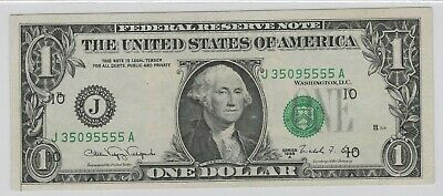 1988A $1 Federal Reserve Missouri Print Shift Note Very Close To Uncirculated