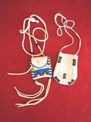 Set of Two Beaded Leather Bags