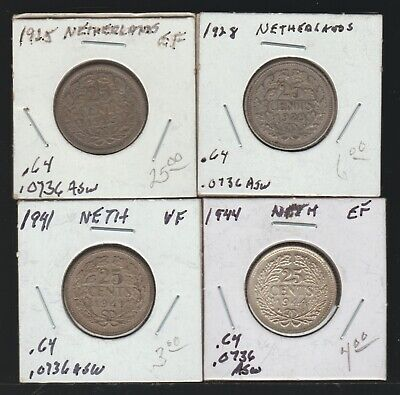 Netherlands, Lot of 4 Different Silver 25 Cents