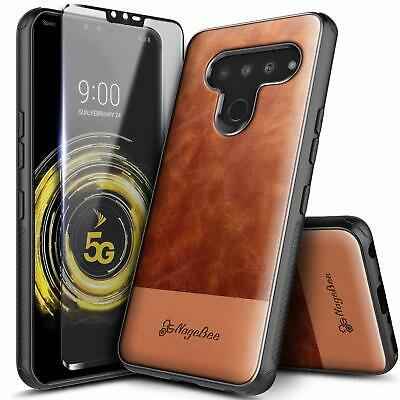 For LG Stylo 6 Case Shockproof Leather Phone Cover + Tempered Glass Protector