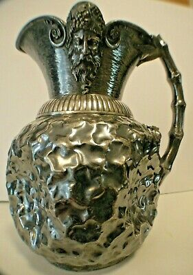 ANTIQUE FIGURAL Derby AESTHETIC SILVER PLATE LG WINE PITCHER, Bucchas,Frog, Bamb