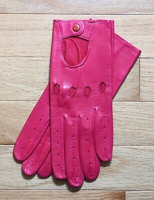 New  Shalimar Sexy Fuschia Unlined Leather Driving Gloves Italy Size 7 1/2 NWOT