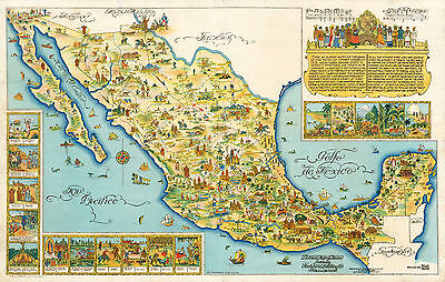 Early Pictorial Map of Mexico Vintage History Wall Art Poster Print Decor