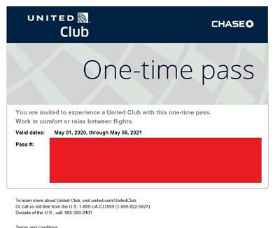 United Club Airport Lounge One Day Passes (2) - expire May 8, 2021