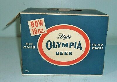 Vintage Light Olympia Beer Cardboard Box Pack w/ 6 Empty Tin 16 Oz. Cans Display