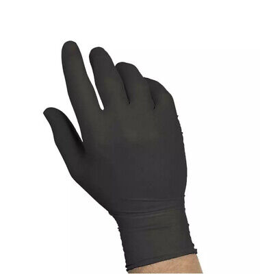100-piece Black Nitrile Rubber Gloves, Latex & Powder-Free by Sysco