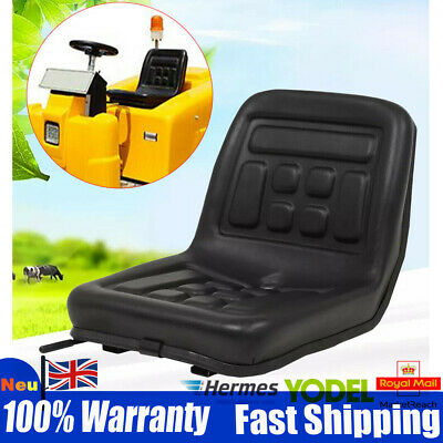 Universal Tractor Black Seat Skid Steer Dumper Mower Suspension Seat w/ Rails UK