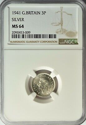 Great Britain Silver 3 Pence 1941 Ngc Ms 64 Unc