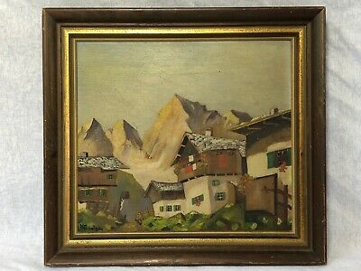 1 Vintage Original Signed Oil On Board Painting Swiss Chalet Mountains Scene