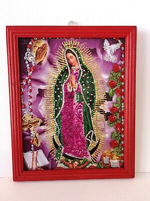 Authentic MEXICAN Virgin of Guadalupe Glittery Retablo Painting Icons Kitsch #03